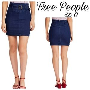 Free People - Livin It Up Denim Pencil Mini Skirt